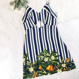 Farm Rio Striped Fruit Cutout Sleeveless Dress